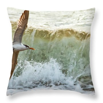 Fishing The Surf Throw Pillow