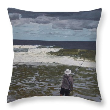 Fishing The Surf In Lavallette, New Jersey Throw Pillow by Barbara Barber