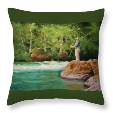 Fishing The Umpqua Throw Pillow by Nancy Jolley