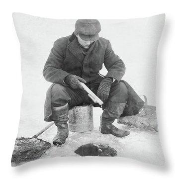 Fishing Through Ice Throw Pillow