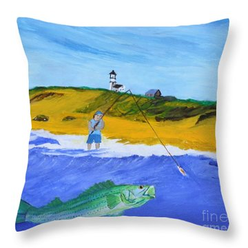 Fishing Under Highland Light Throw Pillow