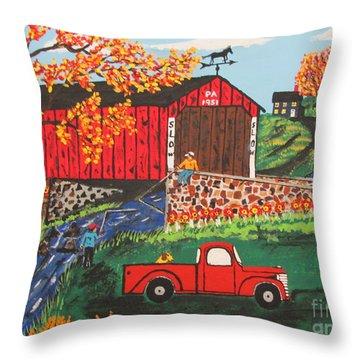 Throw Pillow featuring the painting Fishing Under The  Covered Bridge by Jeffrey Koss