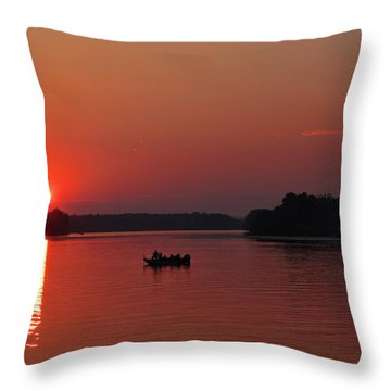 Fishing Until Sunset Throw Pillow