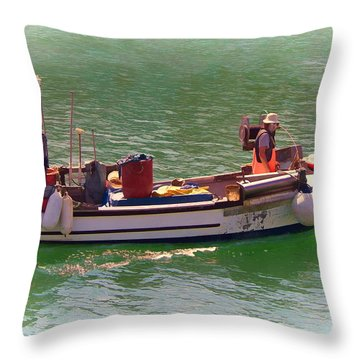 Throw Pillow featuring the digital art Fishing Vessel  by Paul Gulliver