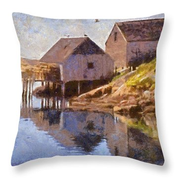 Fishing Wharf Throw Pillow by Jeffrey Kolker