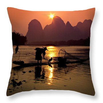 Fishing With Cormorants Throw Pillow