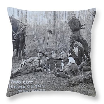 Fishing With The Boys Throw Pillow