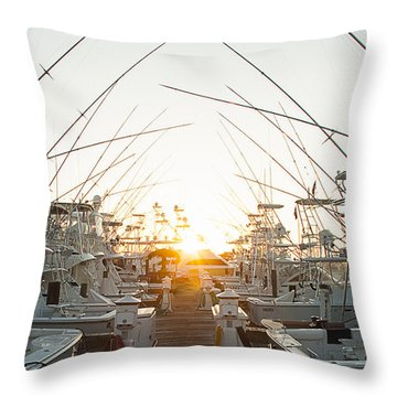Fishing Yachts Throw Pillow