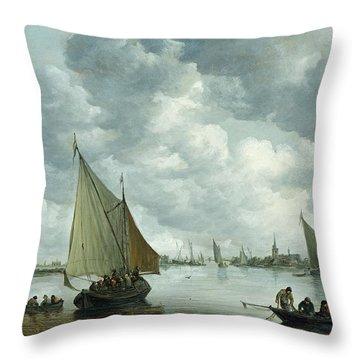 Fishingboat In An Estuary Throw Pillow by Jan Josephsz van Goyen