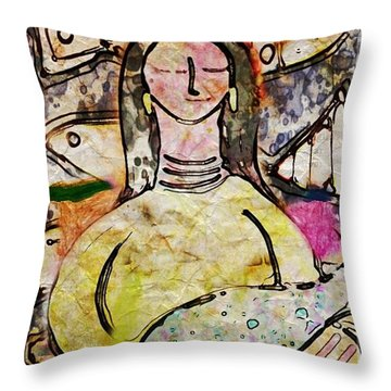 Throw Pillow featuring the digital art Fishmonger's Wife by Alexis Rotella