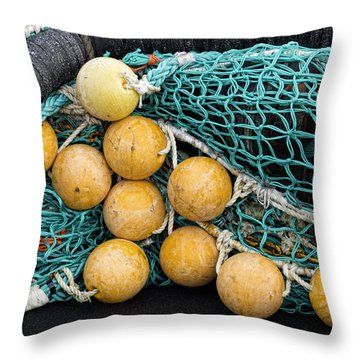 Fishnet Floats Throw Pillow by Carol Leigh