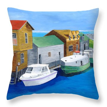 Throw Pillow featuring the painting Fishtown by Rodney Campbell