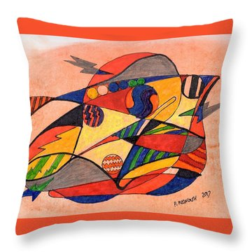 Fishy Abstract Throw Pillow