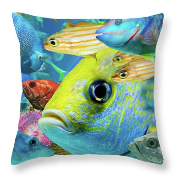 Fishy Collage 02 Throw Pillow