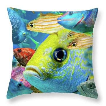 Fishy Collage 02 Throw Pillow