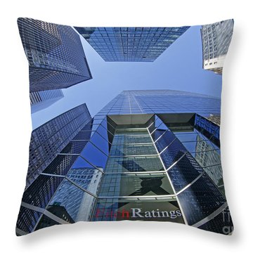 Throw Pillow featuring the photograph Fitch Ratings Manhattan Nyc by Juergen Held