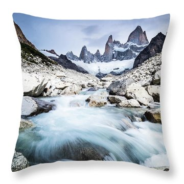 Fitz Roy On A Cloudy Day  Throw Pillow