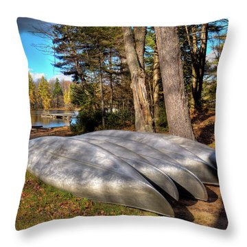 Throw Pillow featuring the photograph Five Canoes At Woodcraft Camp by David Patterson