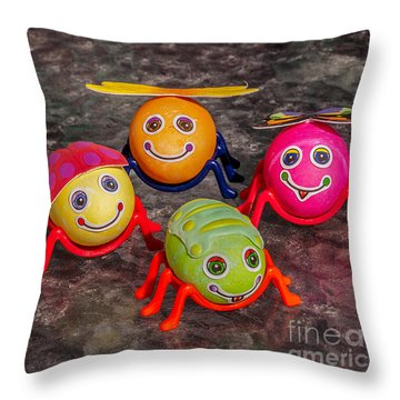 Five Easter Egg Bugs Throw Pillow by Sue Smith