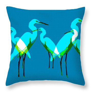 Throw Pillow featuring the painting Five Egrets by David Lee Thompson