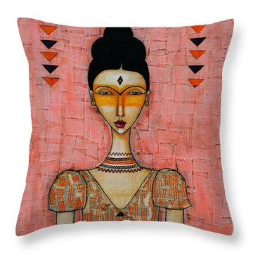 Throw Pillow featuring the mixed media Five Feathers by Natalie Briney