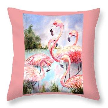 Five Flamingos Throw Pillow