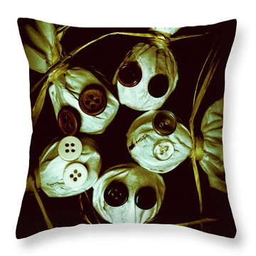 Five Halloween Dolls With Button Eyes Throw Pillow