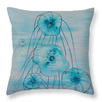 Throw Pillow featuring the painting Five Jelly Family by Kim Nelson