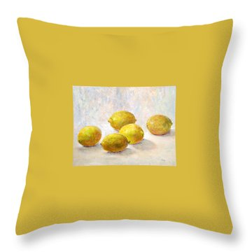 Five Lemons Throw Pillow by Jill Musser