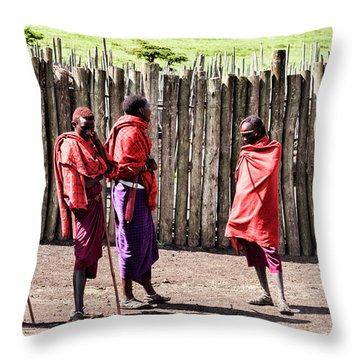Five Maasai Warriors Throw Pillow