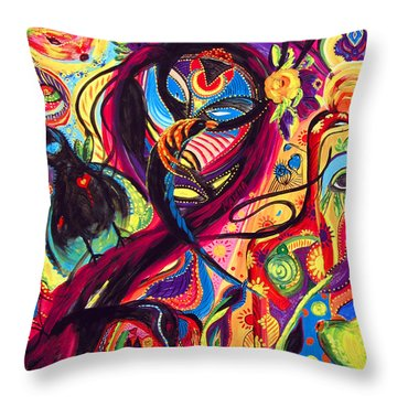 Raven Masquerade Throw Pillow by Marina Petro