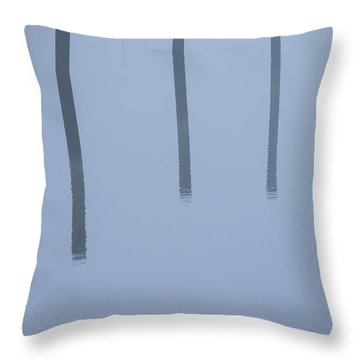 Throw Pillow featuring the photograph Five Poles And A Duck by Karol Livote