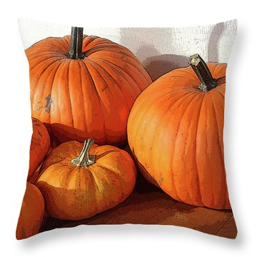 Five Pumpkins Throw Pillow