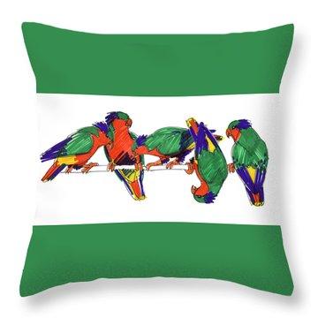 Five Rimatara Lorikeets Throw Pillow