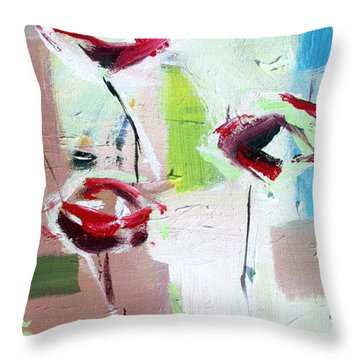 Throw Pillow featuring the painting Five Roses by John Jr Gholson