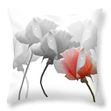 Five Roses Throw Pillow