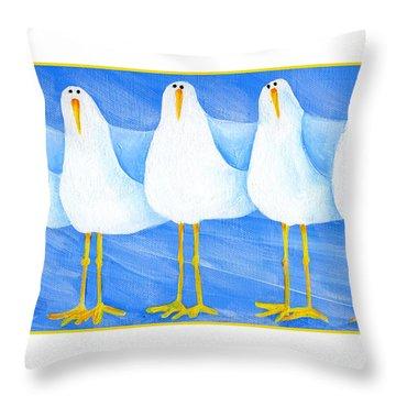 Five Seagulls Throw Pillow