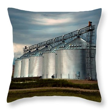 Five Silos On The Plains Of The Texas Panhandle Throw Pillow by MaryJane Armstrong