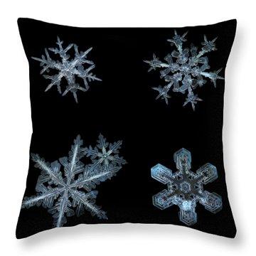 Five Snowflakes On Black 3 Throw Pillow