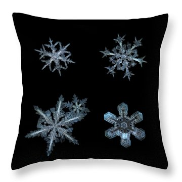 Five Snowflakes On Black 3 Throw Pillow