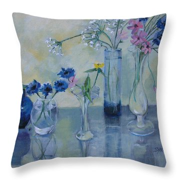 Five Vases Throw Pillow