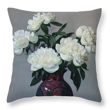 Five White Peonies In Purple Vase Throw Pillow