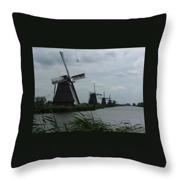 Five Windmills In Kinderdijk Throw Pillow