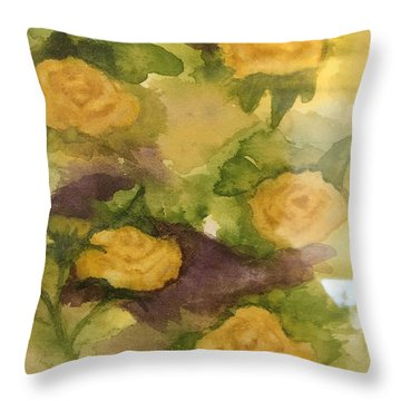 Five Yellow Roses Throw Pillow
