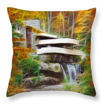 Fixer Upper - Frank Lloyd Wright's Fallingwater Throw Pillow