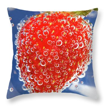 Fizzy Strawberry With Bubbles On Blue Background Throw Pillow