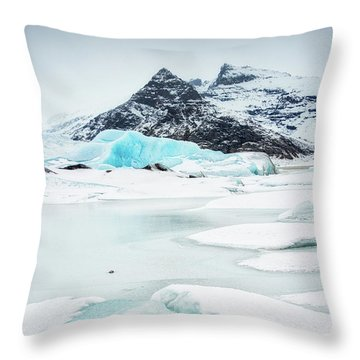 Throw Pillow featuring the photograph Fjallsarlon Glacier Lagoon Iceland In Winter by Matthias Hauser