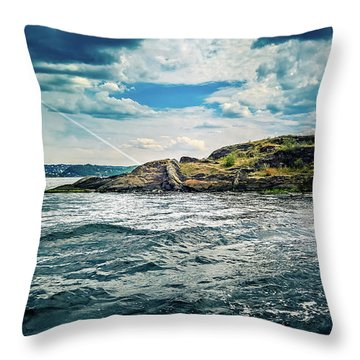 Fjord From The Ferry Throw Pillow
