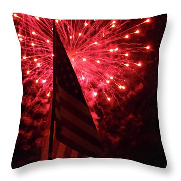 Flag And Fireworks Throw Pillow by Alan Look