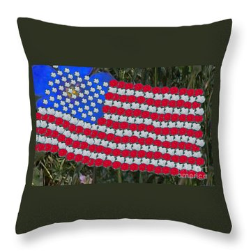Throw Pillow featuring the drawing Flag And Roses by Charles Robinson